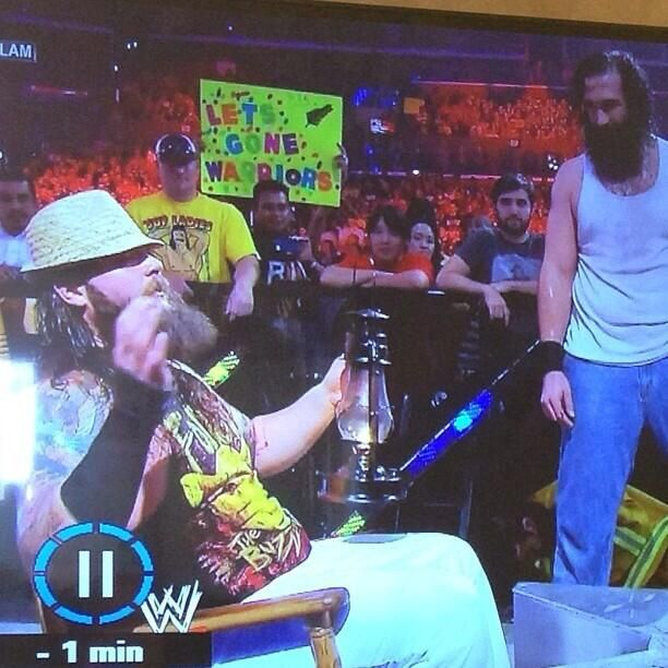 'Lets Gone Warriors' has hit the USA! The slogan features on a fan's sign sitting ring-side at the WWE Summer Slam - from @evokednz