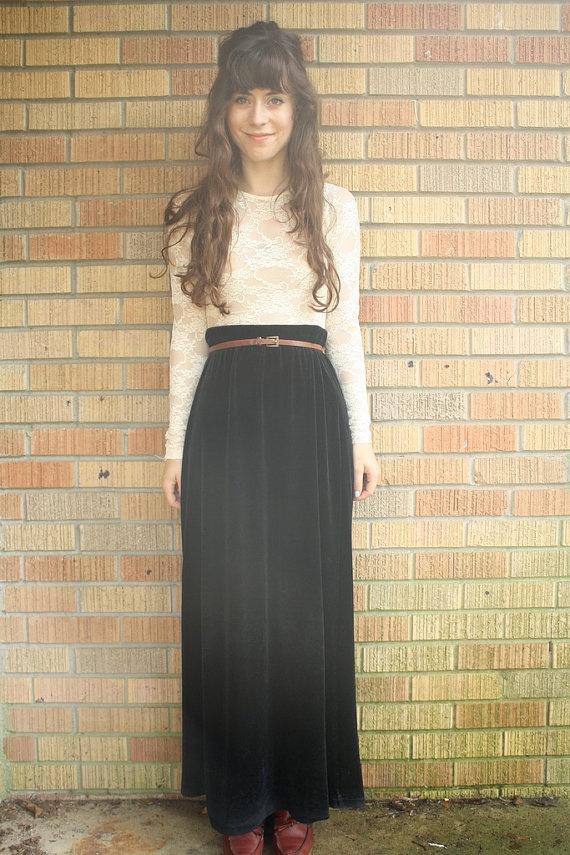 long black velvet skirt available in my etsy shop ...