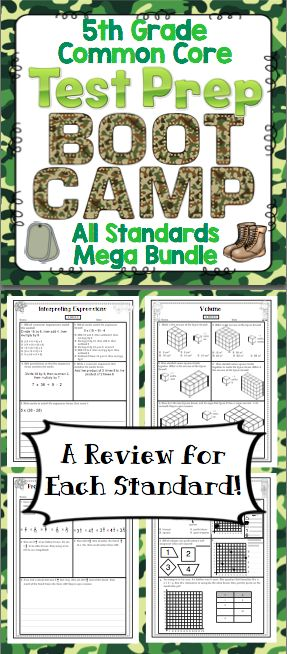 Math Test Prep: 5th Grade (Boot Camp Theme) - Help your students get ready for testing with this boot camp themed pack! It is aligned to the 5th grade Common Core Standards. $