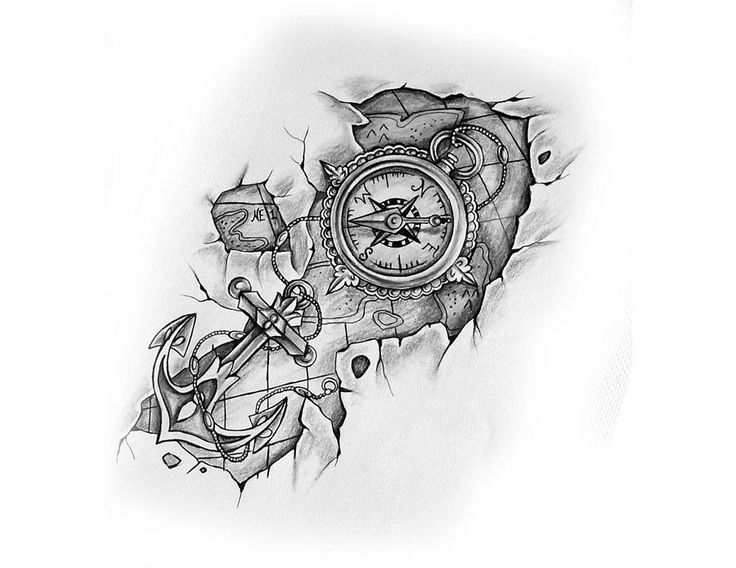 Compass with anchor and map tattoo design