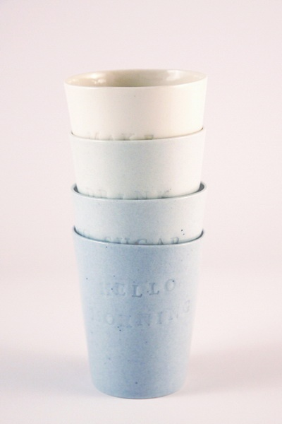 Hello morning. Porcelain cups (spring/summer collection 2012 by Tereza Severýnová)  www.najs.cz