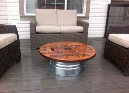 33 37 Quot Wooden Outdoor Patio Coffee Upcycled Electric