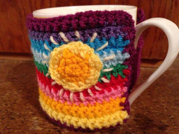Multicoloured mug cosy by MamaMayDew on Etsy