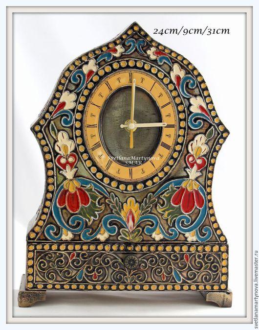 """Часы для дома ручной работы. Ярмарка Мастеров - ручная работа. Купить Часы каминные """"Русские эмали"""". Handmade. Лаковая роспись"""
