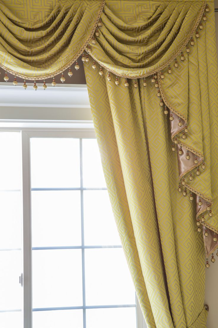 picture of yellow greek key classic overlapping style window treatments swag valance. Black Bedroom Furniture Sets. Home Design Ideas