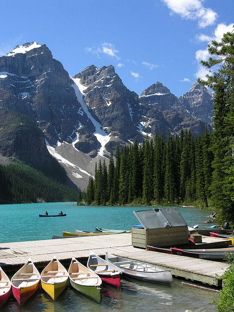 Canoes at Lake Louise in Banff National Park, Canada
