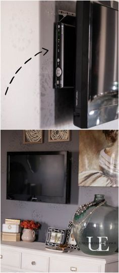 How to Hang a TV and Not See the Cords with step by step instructions....ALSO FIND THE EASIEST WAY TO HIDE THE CABLE BOX FOR LESS THAN $1!!