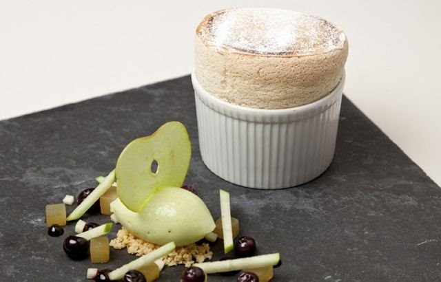 Gingerbread soufflé with granny smith apple sorbet