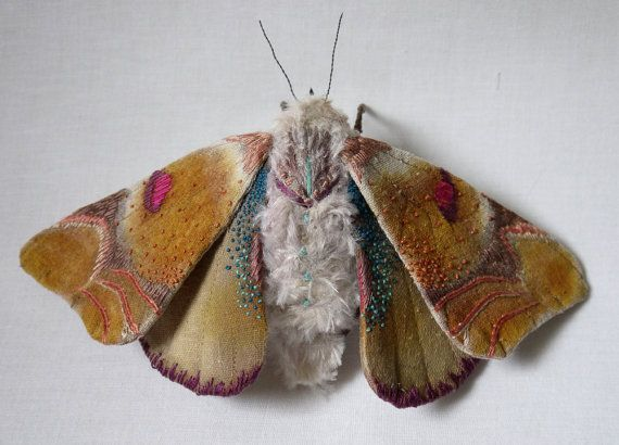 This is so beautiful. A fabric sculpture of a large moth  - textile art by YumiOkita
