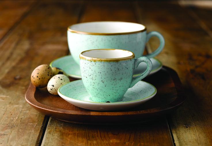 Churchill Stonecast #DuckEggBlue Cappuccino & Espresso Cups