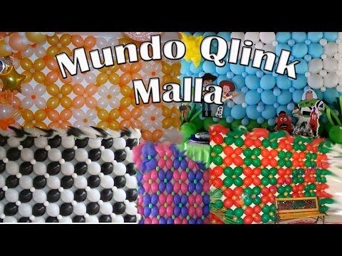 Decoracion con Globos /Como hacer una malla de globos. course of balloon氣球 - YouTube
