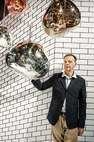tom dixon and the melt pendant at icff2015, nyc
