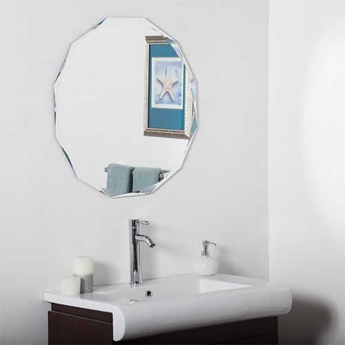 Round Diamond Beveled Frameless Wall Mirror Decor Wonderland Frameless Mirrors Home Decor