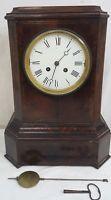 Ancien PENDULE XIXe 19e Style EMPIRE en RONCE de NOYER Filets de LAITON Clock C