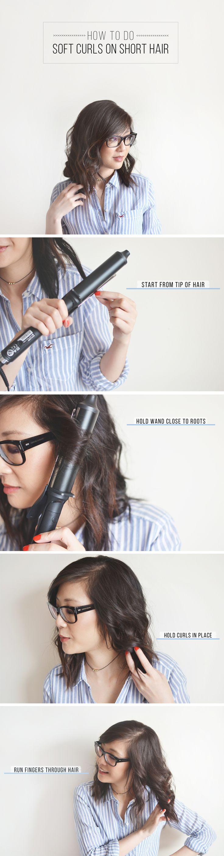 How to do soft curls on short hair // Hair styles for short shoulder length hair