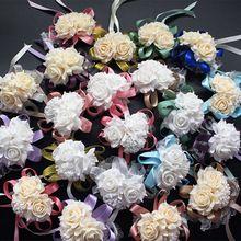 Свадебные украшения свадебная роуз Наручные Корсажи Ручной Цветок шелковый Шнурок Пенополиэтилен Искусственные цветы Невесты Невесты запястье цветок рождество(China (Mainland))