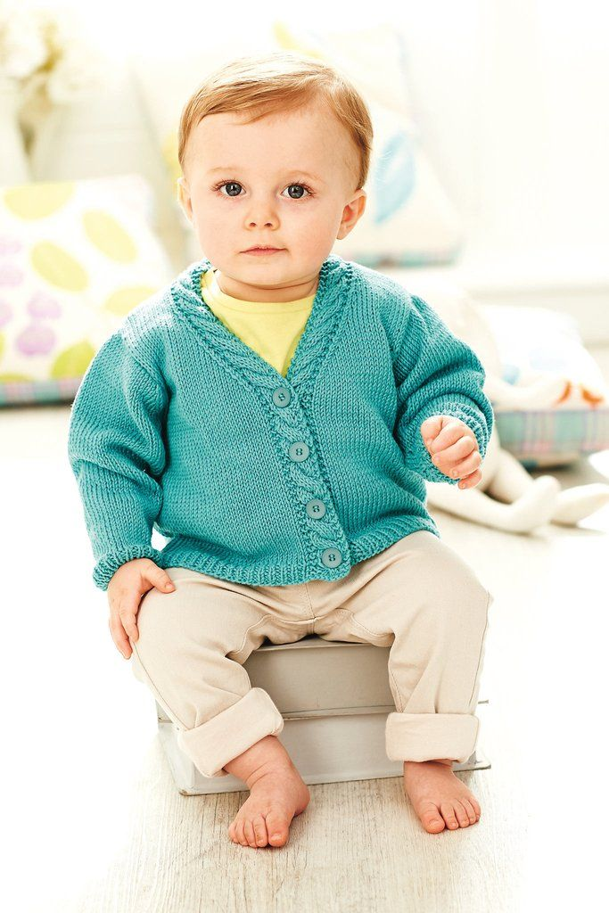 Baby Cardigan With Cable Border Knitting Pattern – The Knitting Network
