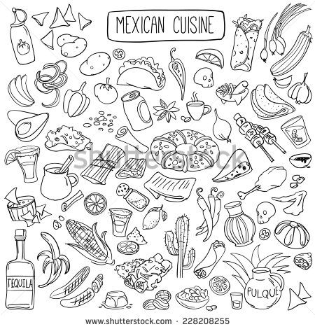 Set Of Doodles, Hand Drawn Rough Simple Mexican Cuisine Food Sketches. Isolated On White Background Ilustración vectorial en stock 228208255 : Shutterstock