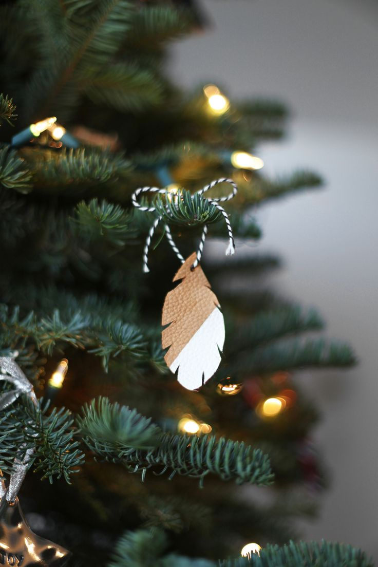 Leather Feather Christmas Ornament