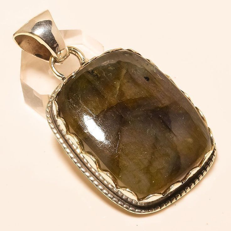 "LABRADORITE 925 STERLING SILVER PENDANT 2.25"" in Jewellery & Watches, Fine Jewellery, Fine Necklaces & Pendants 