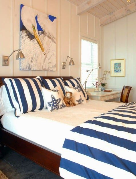 Blue and white bedroom: http://www.completely-coastal.com/2015/01/coastal-nautical-tropical-home-decor-house-tour.html