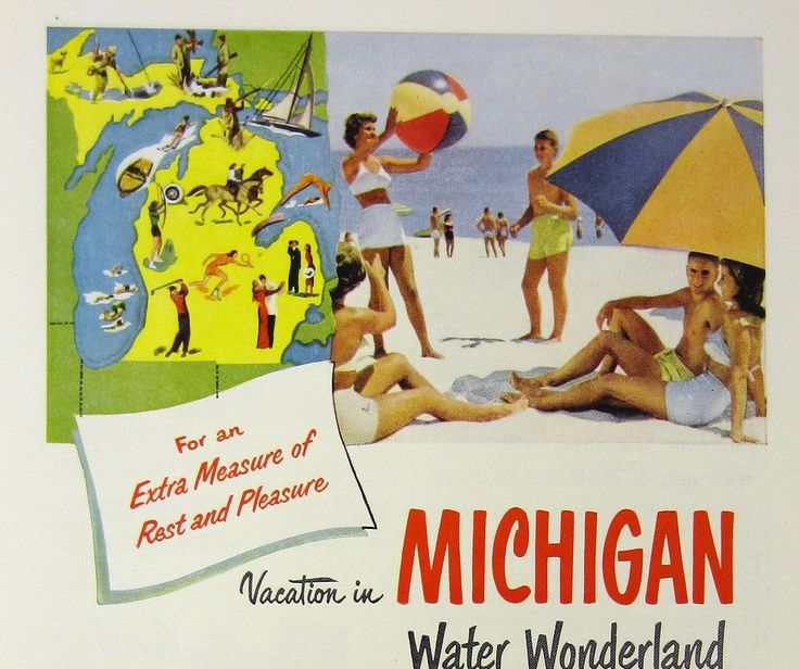 Vintage michigan travel ad michigan water wonderland for Where to go in michigan for a romantic weekend