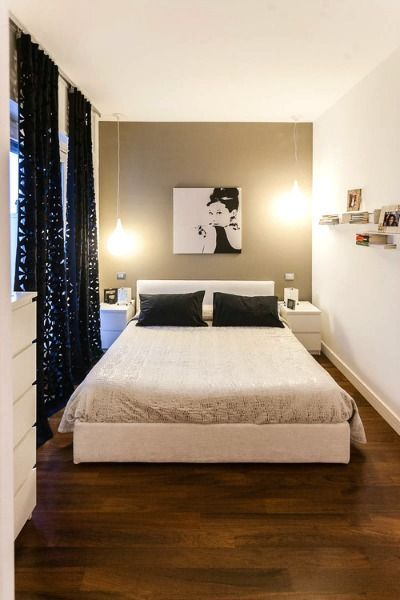 Love for either upstairs bedroom - curtains, including the way they're hung, dresser/nightstand/bed combo, lights. Small Bedroom - Less is More