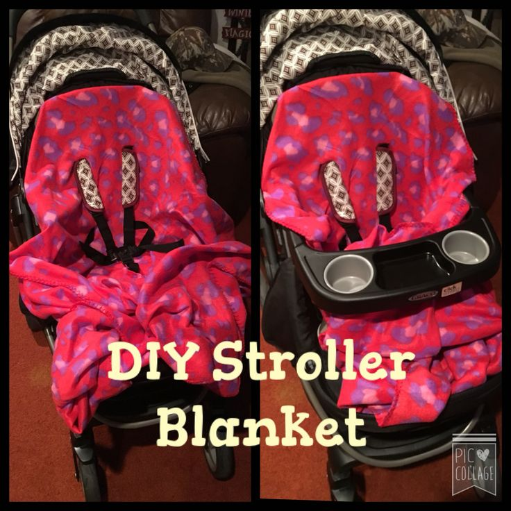 $2.50 No Sew Stroller Blanket! Bought fleece blanket from Walmart, lined up to cut slits for straps, put on and done! Blanket is large enough for child to fully be covered. They won't be able to kick off the blanket which is a huge plus!