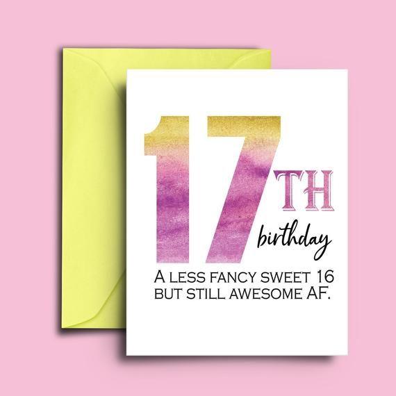 17th Birthday Card For Teenagers Sweet 17 Birthday Card For Etsy In 2021 Birthday Cards Unique Birthday Cards 17th Birthday