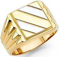 Men's 13mm Two Tone 14K Solid Yellow Gold Ring