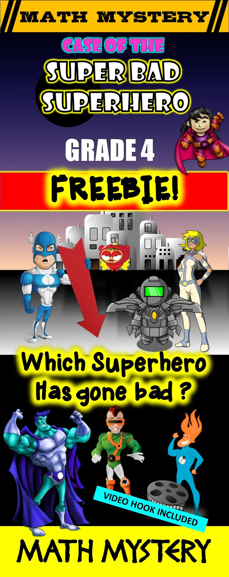Math Mystery FREEBIE! Case of The Super Bad Superhero! GRADE 4 Version. Fun math review activity!