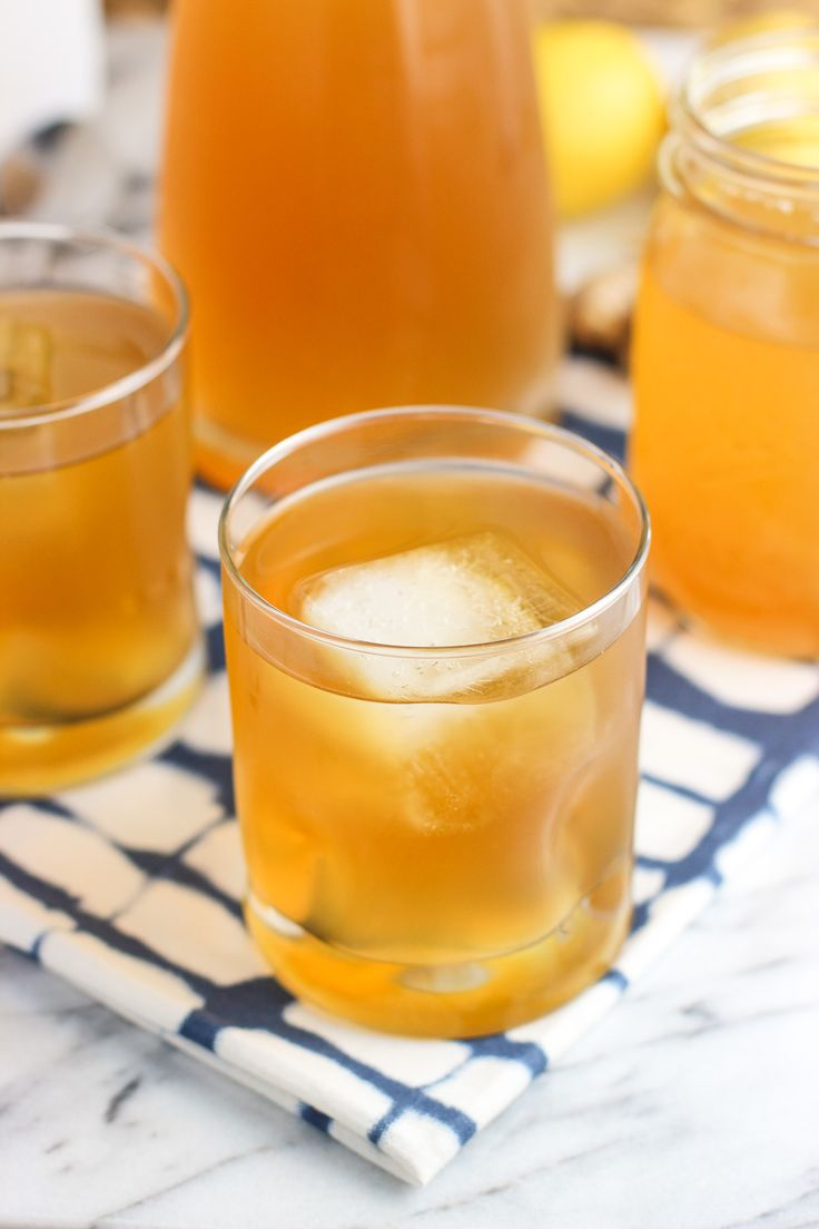 Lemon ginger iced green tea is a refreshing twist on a summer favorite. An easy lemon ginger simple syrup uses honey to flavor and sweeten multiple batches.: