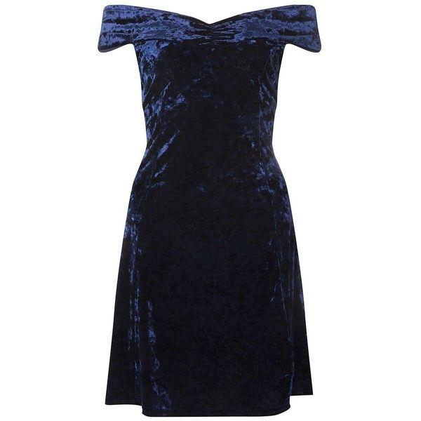 Blue Velvet Bardot Skater Dress ($50) ❤ liked on Polyvore featuring dresses, velvet skater dress, blue skater dresses, blue dress, velvet dress and dorothy perkins dresses