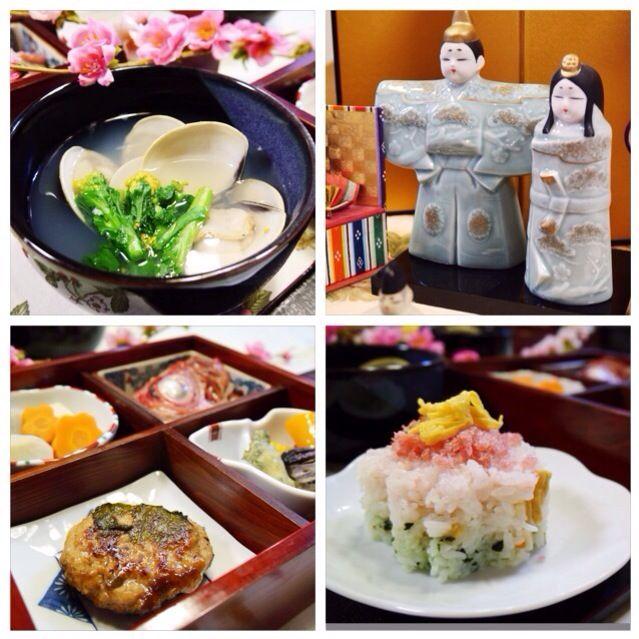 一日早く、雛祭りのお夕飯にしました   ・三色のちらし寿司  ・蛤と菜の花のお吸い物  ・つくねの紫蘇巻き 胡麻だれ  ・金目鯛の煮付け  ・海老芋・高野豆腐・花形人参の煮物  ・ 小茄子の米粉天ぷら、三色パプリカの素揚げ、たらの芽の天ぷら  今日や明日には、たくさんの皆さんの雛祭りのご馳走がアップされることでしょうね。楽しみです - 254件のもぐもぐ -  雛祭り御前  by meisui829