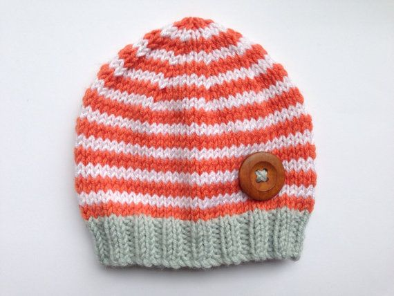 Knitted Baby Hat hand-knitted in Teal Orange and by NoahandNoo