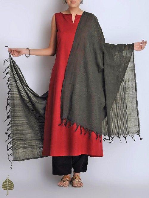 Black Natural Dyed Cotton Handwoven Dupatta