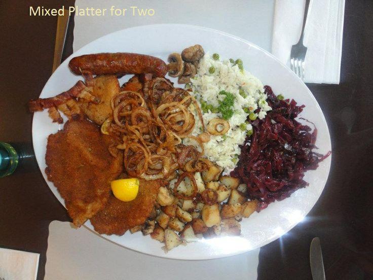 Originally called a wooden platter or Transylvanian Platter: Simply called a mixed platter for two/three/four at Savoury and Sweet Restaurant 3770 Bridgewater Street Niagara Ontario