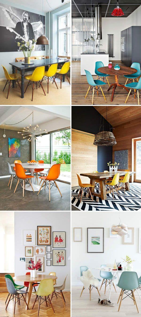 cadeiras eames coloridas sala de jantar