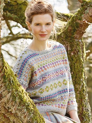 FLEUR from Springtime Collection Six by Marie Wallin 8 handknit designs for women by Marie Wallin. A beautiful trans-seasonal collection of quintessential feminine knitwear featuring floral intarsias, fairisles, subtle lace and twisted stitch textures. Mainly using Rowan Felted Tweed, this collection is the ideal solution to the problem of what to wear on a sunny spring day when it's still chilly outside | English Yarns http://englishyarns.co.uk/rowan-marie-wallin-springtime.html