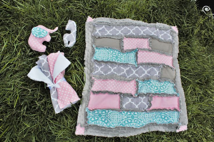 Pink, Mint & Gray Baby Gift Sets by BabyBazerk on Etsy