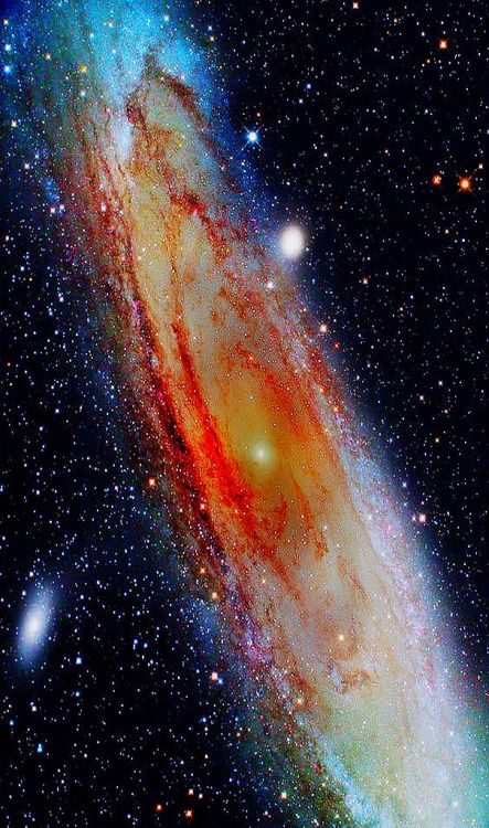 The Andromeda Galaxy is 2 million light years away from us so what we see now is how it appeared 2 million years ago. It will collide with our Milky Way in 2 billions years from now.  The two galaxies are heading towards each other at a rate of 430 km/hr. A billion years from now Andromeda will loom as a spectacular site, eventually swelling to fill half of the night sky.