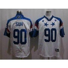 Lions #90 Ndamukong Suh 2011 White and Blue Pro Bowl Stitched NFL Jersey