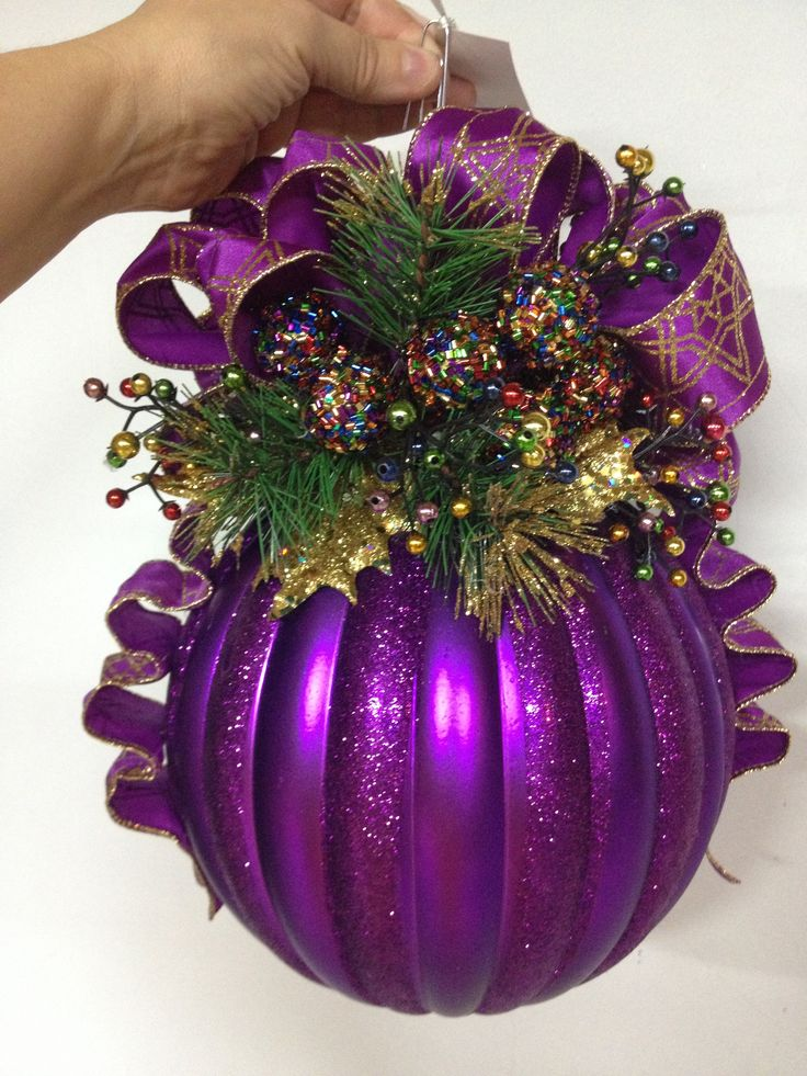 Purple splendor large Christmas ball by Shari