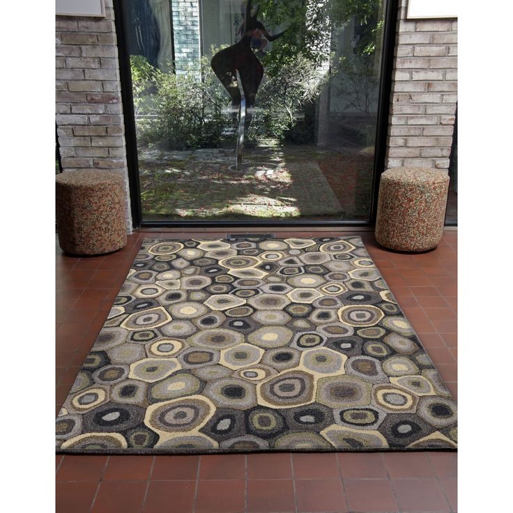 Giant Circles Wool Hand-tufted Transitional Rug (8' x 10'), Grey, Size 8' x 10'