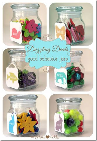 I'm a huge fan of the behavior jar to reward good behavior. Dazzling Deeds - good behavior jars {mama♥miss} ©2012