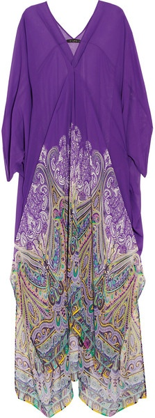 Etro Printed Silk Maxi Kaftan in Purple