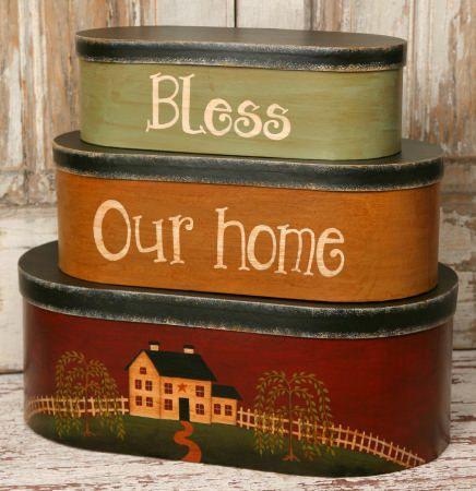 Aufbewahrung von PC-Nistkästen Saltbox House Bless Our Home   – Primitive