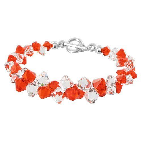 """Sterling Silver Red and Clear Crystal Bracelet 7.5 inch Made with Swarovski Elements Gem Avenue. $33.99. Gem Avenue Sku # SCBR263. 7.5"""" Long with Toggle Clasp. Bouquet of Red & Clear Made with Swarovski Elements. .925 Sterling Silver Bracelet. Save 64%!"""