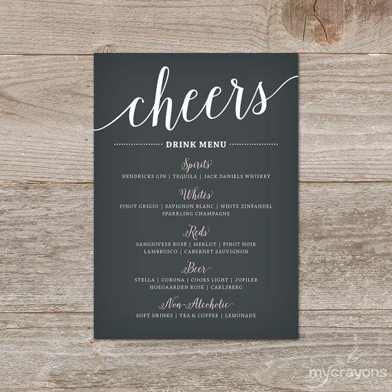 Wedding Drink Menu The Bella Script Cheers Bar Sign Printable Features A