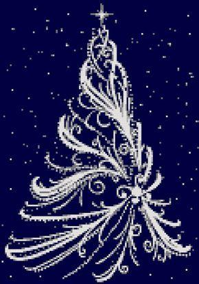 White Christmas tree counted cross stitch kit Christmas